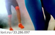 Step aerobics workouts. Exercises for flat female belly. Стоковое видео, видеограф Gennadiy Poznyakov / Фотобанк Лори