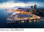 Купить «Barcelona seashore in night», фото № 33296613, снято 28 августа 2018 г. (c) Яков Филимонов / Фотобанк Лори