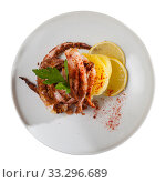 Купить «Delicious cooked squid or octopus tentacles with lemon and parsley on a plate», фото № 33296689, снято 9 апреля 2020 г. (c) Яков Филимонов / Фотобанк Лори