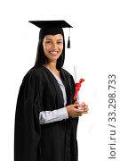 Купить «Mixed race female student holding a certificate graduating», фото № 33298733, снято 2 июля 2019 г. (c) Wavebreak Media / Фотобанк Лори