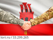 Купить «Soldiers shaking hands with flag on background - Gibraltar», фото № 33299265, снято 14 июля 2020 г. (c) age Fotostock / Фотобанк Лори