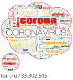 Word bubble cloud on theme Coronavirus COVID-19 Outbreak on white. Стоковая иллюстрация, иллюстратор Kira_Yan / Фотобанк Лори