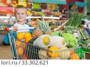 Купить «Little boy standing near shopping cart», фото № 33302621, снято 20 апреля 2019 г. (c) Яков Филимонов / Фотобанк Лори