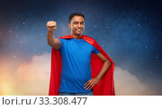 Купить «indian man in superhero cape makes winning gesture», фото № 33308477, снято 17 ноября 2019 г. (c) Syda Productions / Фотобанк Лори