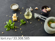 ingredients for basil pesto sauce on stone table. Стоковое фото, фотограф Syda Productions / Фотобанк Лори