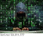 Young hacker in data security concept. Стоковое фото, фотограф Elnur / Фотобанк Лори