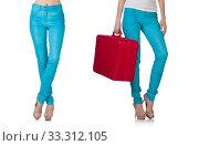 Купить «Woman legs in blue trousers», фото № 33312105, снято 4 июня 2013 г. (c) Elnur / Фотобанк Лори