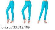 Купить «Woman legs in blue trousers», фото № 33312109, снято 4 июня 2013 г. (c) Elnur / Фотобанк Лори