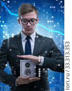 Businessman in security concept with safe. Стоковое фото, фотограф Elnur / Фотобанк Лори