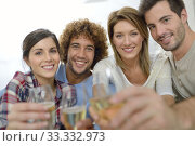 Купить «Closeup of friends cheering with glass of wine», фото № 33332973, снято 12 июля 2020 г. (c) PantherMedia / Фотобанк Лори