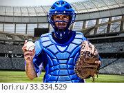 Купить «Composite image of baseball player», фото № 33334529, снято 16 июля 2020 г. (c) Wavebreak Media / Фотобанк Лори