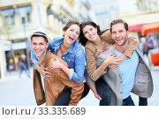 Купить «Group of friends getting silly in shopping street», фото № 33335689, снято 4 апреля 2020 г. (c) PantherMedia / Фотобанк Лори