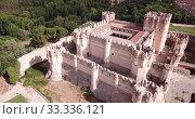 Picturesque summer landscape with medieval Coca Castle located on outskirts of Spanish town of Coca, Segovia (2019 год). Стоковое видео, видеограф Яков Филимонов / Фотобанк Лори