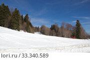 Купить «Beautiful mountains covered with snow. Sunny day and blue sky on a frosty day», фото № 33340589, снято 5 марта 2019 г. (c) Олег Хархан / Фотобанк Лори