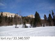 Купить «Beautiful mountains covered with snow. Sunny day and blue sky on a frosty day», фото № 33340597, снято 5 марта 2019 г. (c) Олег Хархан / Фотобанк Лори