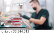 Plastic model of human jaws with a toothbrush - man dentist doing his work on the background. Стоковое видео, видеограф Константин Шишкин / Фотобанк Лори