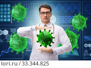 Купить «Doctor researching coronavirus in the lab», фото № 33344825, снято 10 июля 2020 г. (c) Elnur / Фотобанк Лори