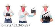 Купить «Cowboy isolated on the white background», фото № 33345897, снято 24 октября 2013 г. (c) Elnur / Фотобанк Лори