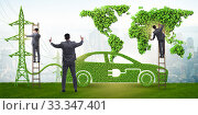 Купить «Electric car and green energy concept», фото № 33347401, снято 10 июля 2020 г. (c) Elnur / Фотобанк Лори