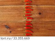 Купить «red chili or cayenne pepper on wooden boards», фото № 33355669, снято 6 сентября 2018 г. (c) Syda Productions / Фотобанк Лори