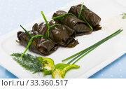 Купить «Grape rolls Sarni cooked in leaves and served at plate, Bulgarian cuisine», фото № 33360517, снято 28 марта 2020 г. (c) Яков Филимонов / Фотобанк Лори
