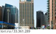 Abu Dhabi, UAE - March 31. 2019. Oryx Hotel and other modern high-rise buildings. Редакционное фото, фотограф Володина Ольга / Фотобанк Лори