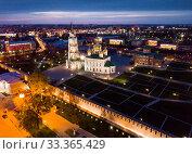 Купить «View of Kremlin and the Assumption Church in Tula in the evening», фото № 33365429, снято 1 мая 2019 г. (c) Яков Филимонов / Фотобанк Лори