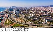 Купить «Aerial view of Diagonal Mar district, Barcelona», фото № 33365477, снято 2 июля 2020 г. (c) Яков Филимонов / Фотобанк Лори