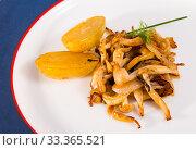 Купить «Cooked fried honey fungus mushrooms with baby-potatoes», фото № 33365521, снято 5 апреля 2020 г. (c) Яков Филимонов / Фотобанк Лори