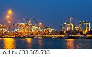 night view of seaport with cranes (2014 год). Стоковое фото, фотограф Яков Филимонов / Фотобанк Лори