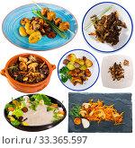 Купить «Delicious different dish with mushrooms cooked at clay pots and plates», фото № 33365597, снято 10 июля 2020 г. (c) Яков Филимонов / Фотобанк Лори