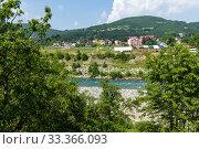 Купить «Rural landscape with mountains and houses in Zabljak Municipality, Montenegro», фото № 33366093, снято 14 июня 2019 г. (c) Володина Ольга / Фотобанк Лори