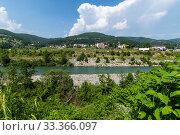 Купить «Rural landscape with mountains and houses in Zabljak Municipality, Montenegro», фото № 33366097, снято 14 июня 2019 г. (c) Володина Ольга / Фотобанк Лори