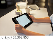 Купить «businesswoman with tablet computer at night office», фото № 33368853, снято 24 января 2019 г. (c) Syda Productions / Фотобанк Лори