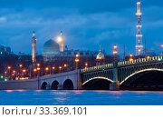 Купить «Троицкий мост и вид на соборную мечеть. Ночной Санкт-Петербург», фото № 33369101, снято 6 марта 2020 г. (c) Румянцева Наталия / Фотобанк Лори