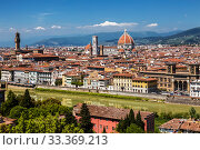 Купить «Top view of Florence, Palazzo Vecchio and Cathedral of Santa Maria del Fiore, the main attractions of Florence. Italy», фото № 33369213, снято 9 мая 2014 г. (c) Наталья Волкова / Фотобанк Лори