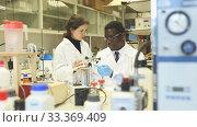 Experienced male and female scientists standing in interior of laboratory. Стоковое видео, видеограф Яков Филимонов / Фотобанк Лори