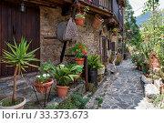 Купить «The stone paved street of the old Kakopetria surrounded by flowers. Nicosia District. Cyprus», фото № 33373673, снято 11 июня 2018 г. (c) Serg Zastavkin / Фотобанк Лори