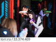 Girl on lasertag arena. Стоковое фото, фотограф Яков Филимонов / Фотобанк Лори