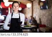 Waitress with serving tray. Стоковое фото, фотограф Яков Филимонов / Фотобанк Лори