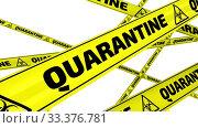 Купить «QUARANTINE. Yellow warning tapes in motion», видеоролик № 33376781, снято 16 марта 2020 г. (c) WalDeMarus / Фотобанк Лори