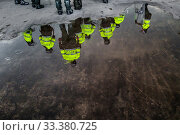 Купить «Colombian policemen patrol along a march route during a protest march against government's policies and corruption within the public educational system in Bogotá, Colombia, 24 October 2019.», фото № 33380725, снято 24 октября 2019 г. (c) age Fotostock / Фотобанк Лори