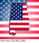 Купить «Map of Alabama filled with the national flag», фото № 33382249, снято 26 мая 2020 г. (c) age Fotostock / Фотобанк Лори