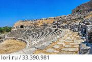 Купить «The interior of the Miletus Ancient Theatre in Turkey», фото № 33390981, снято 20 июля 2019 г. (c) Sergii Zarev / Фотобанк Лори