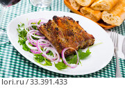Купить «Rack of pork with greens», фото № 33391433, снято 9 июля 2020 г. (c) Яков Филимонов / Фотобанк Лори