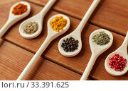 Купить «spoons with different spices on wooden table», фото № 33391625, снято 6 сентября 2018 г. (c) Syda Productions / Фотобанк Лори