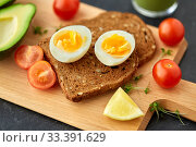 Купить «toast bread with eggs, cherry tomatoes and avocado», фото № 33391629, снято 1 ноября 2018 г. (c) Syda Productions / Фотобанк Лори