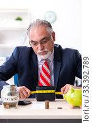 Купить «Old male accountant in budget planning concept», фото № 33392789, снято 12 сентября 2019 г. (c) Elnur / Фотобанк Лори