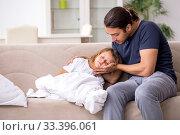 Купить «Father taking care of his ill daughter», фото № 33396061, снято 6 августа 2019 г. (c) Elnur / Фотобанк Лори