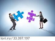 Digital transformation concept with jigsaw puzzle. Стоковое фото, фотограф Elnur / Фотобанк Лори